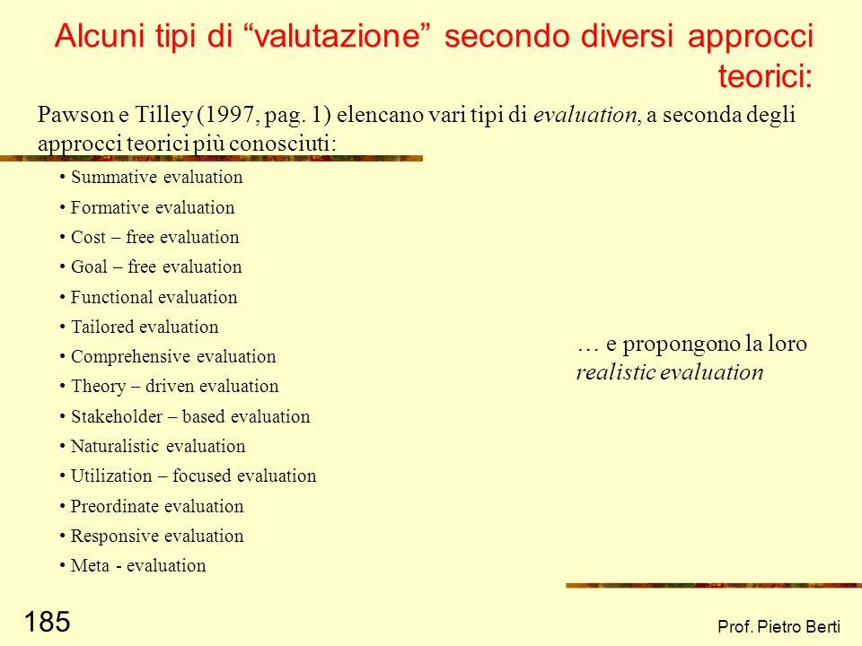 Alcuni tipi di valutazione secondo diversi approcci teorici: