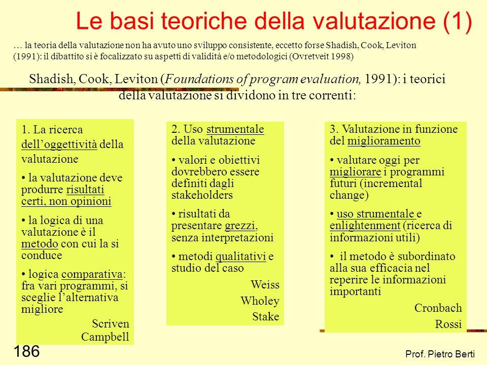 Le basi teoriche della valutazione (1)