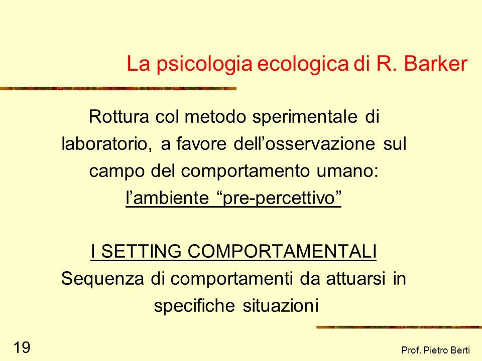 La psicologia ecologica di R. Barker
