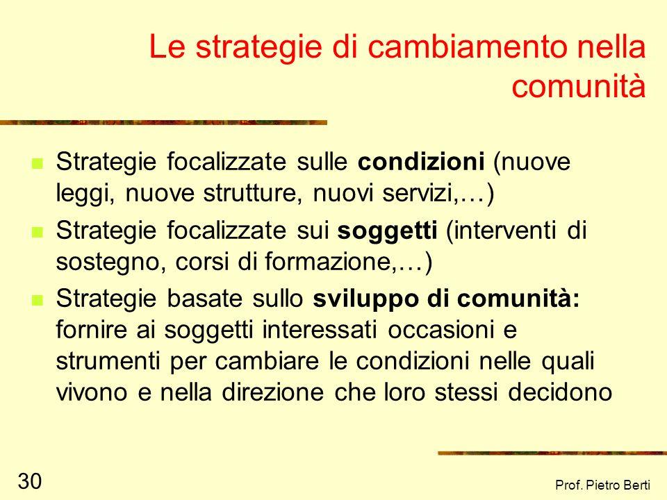 Le strategie di cambiamento nella comunità