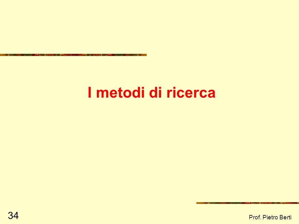 I metodi di ricerca Prof. Pietro Berti