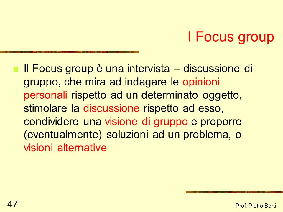 I Focus group