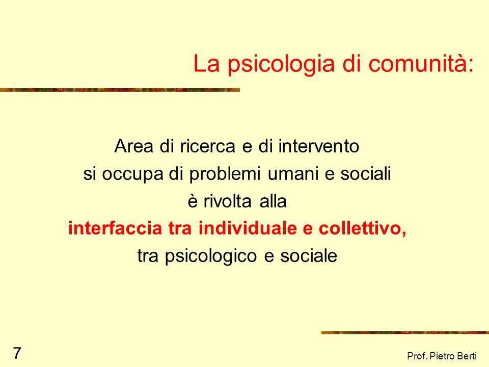 La psicologia di comunità: