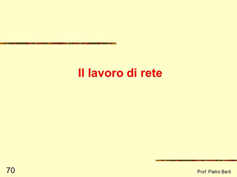 Il lavoro di rete Prof. Pietro Berti