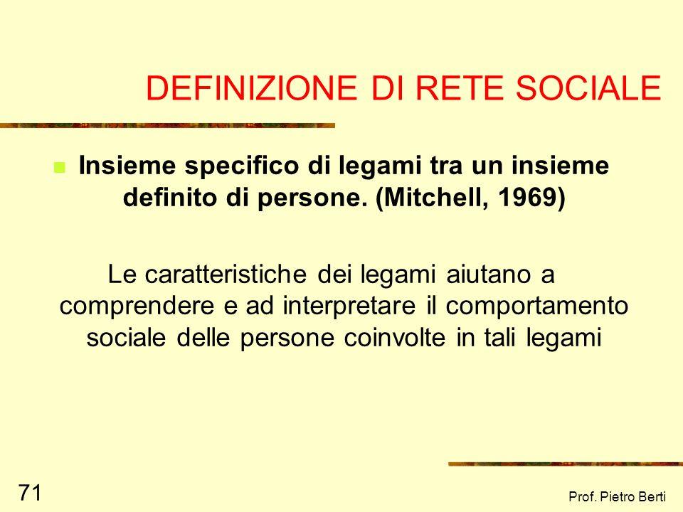DEFINIZIONE DI RETE SOCIALE