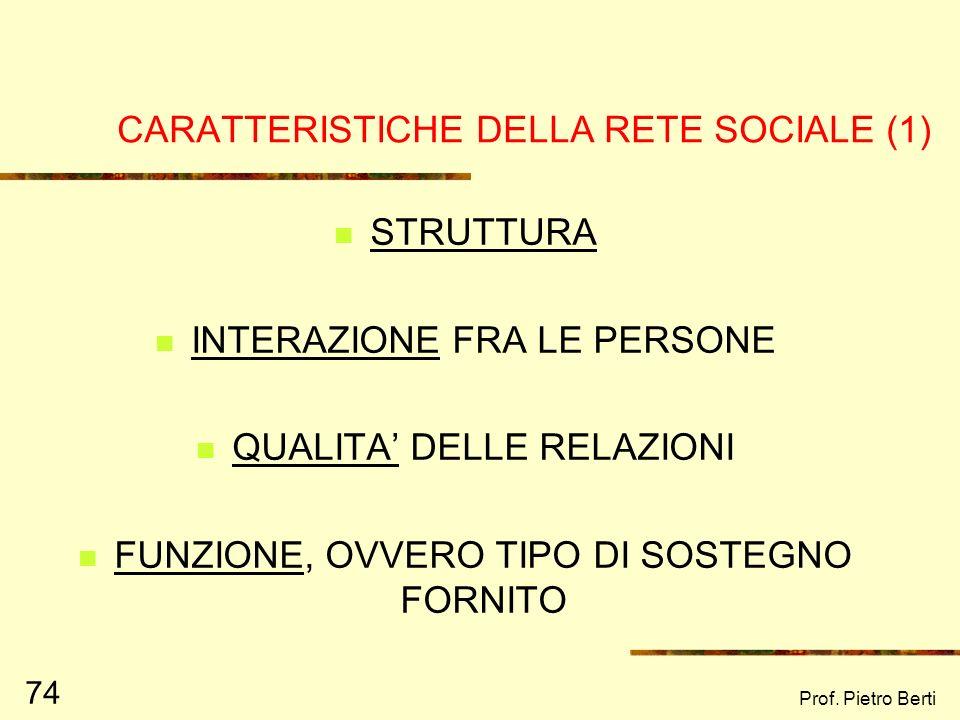CARATTERISTICHE DELLA RETE SOCIALE (1)