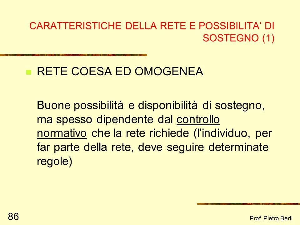 CARATTERISTICHE DELLA RETE E POSSIBILITA' DI SOSTEGNO (1)