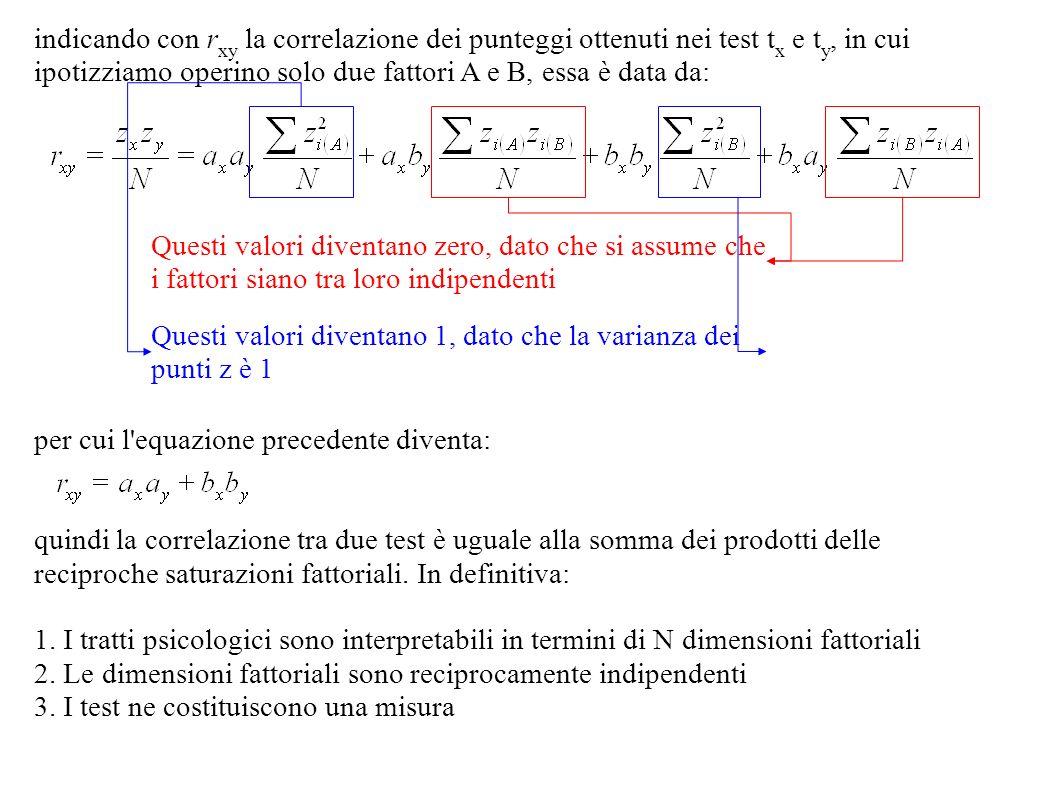 indicando con rxy la correlazione dei punteggi ottenuti nei test tx e ty, in cui ipotizziamo operino solo due fattori A e B, essa è data da: