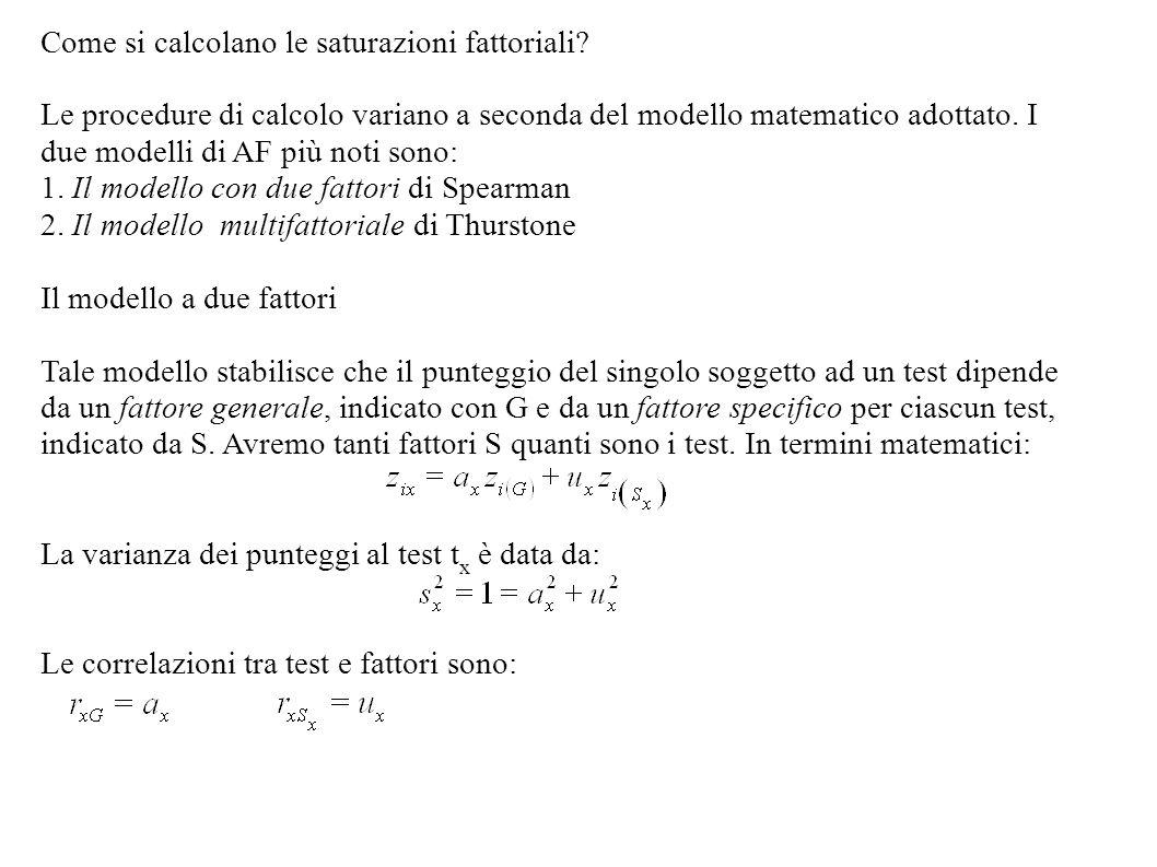 Come si calcolano le saturazioni fattoriali