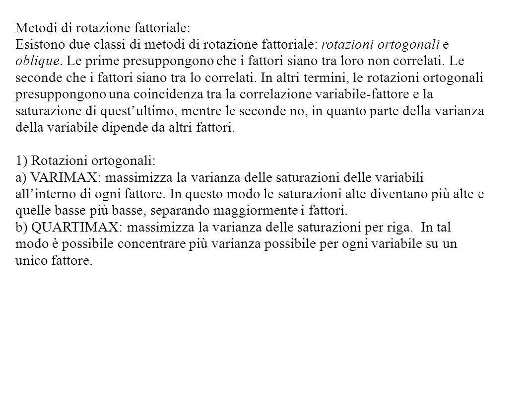 Metodi di rotazione fattoriale: