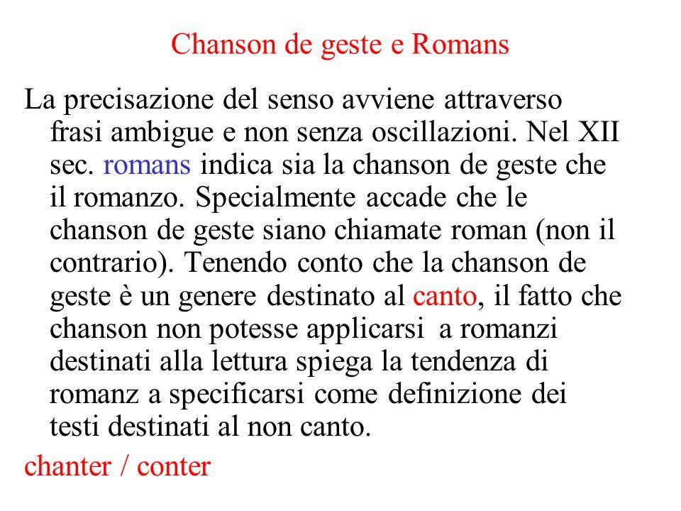 Chanson de geste e Romans