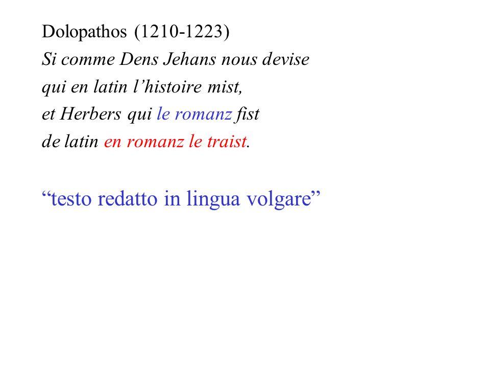testo redatto in lingua volgare