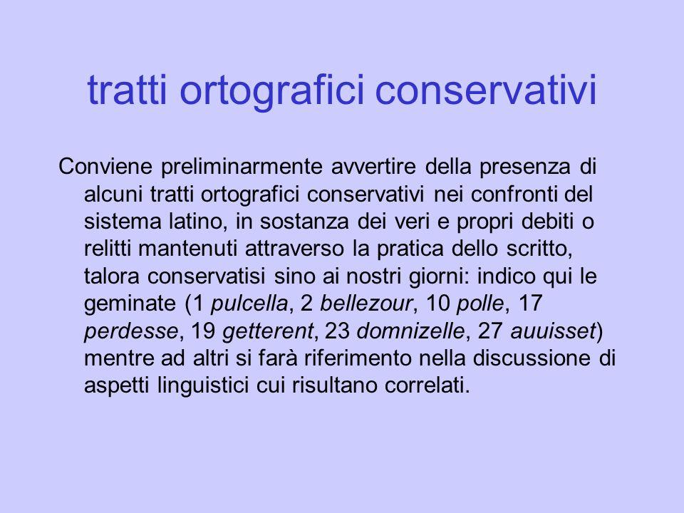 tratti ortografici conservativi