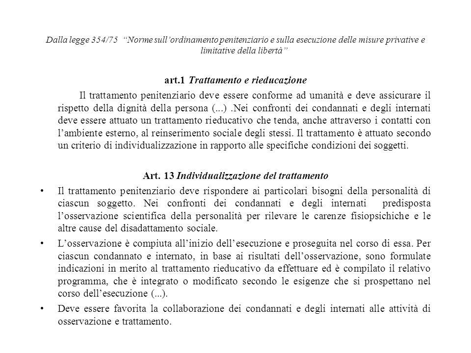 art.1 Trattamento e rieducazione