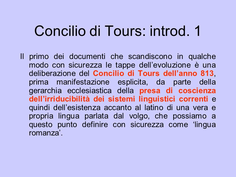 Concilio di Tours: introd. 1