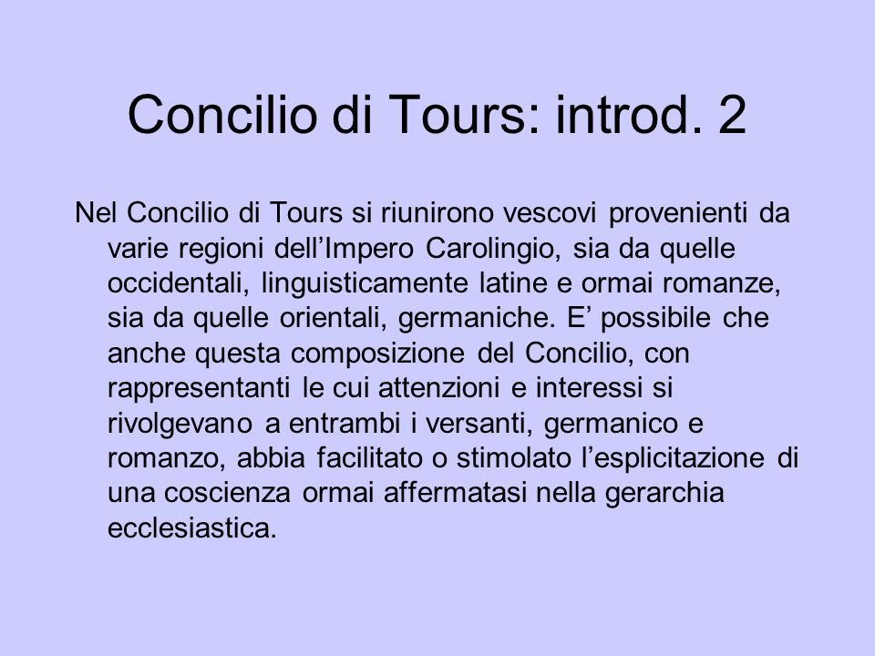 Concilio di Tours: introd. 2