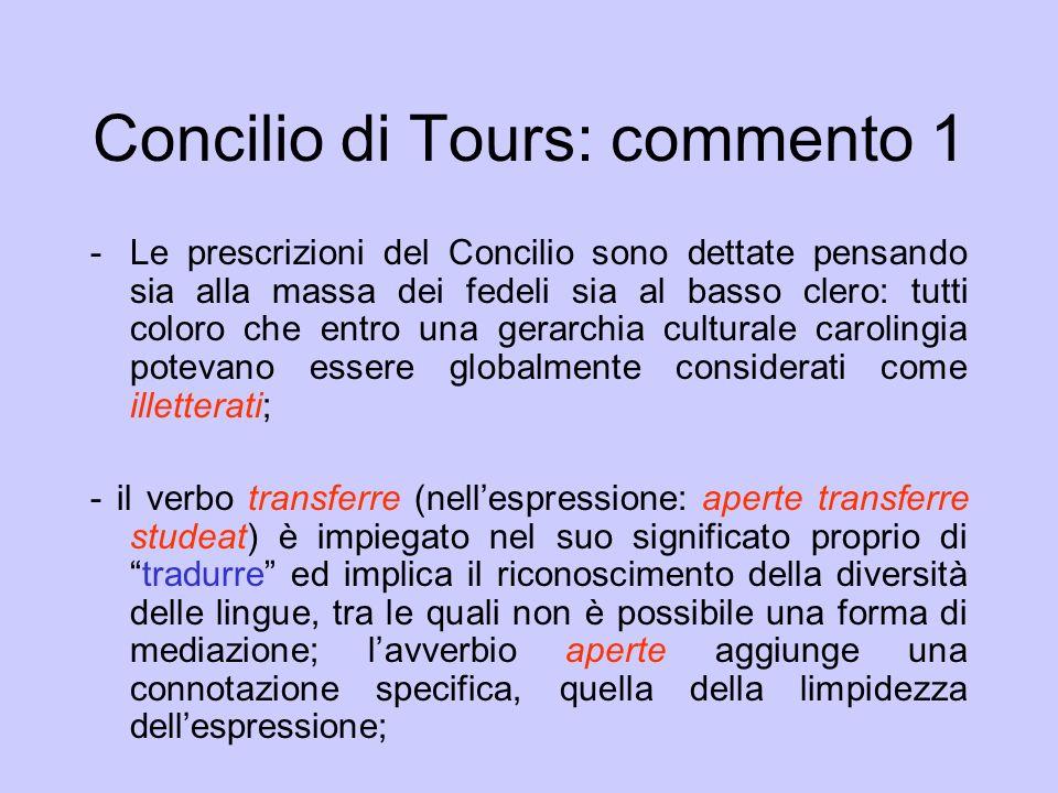 Concilio di Tours: commento 1