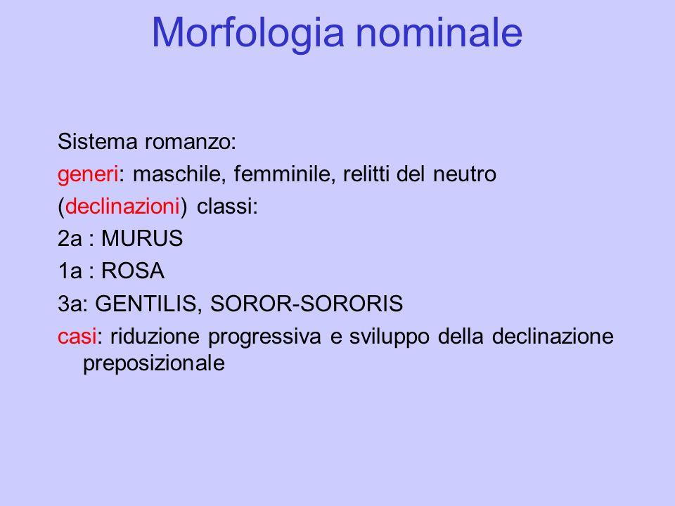 Morfologia nominale Sistema romanzo: