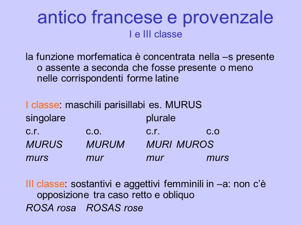 antico francese e provenzale I e III classe