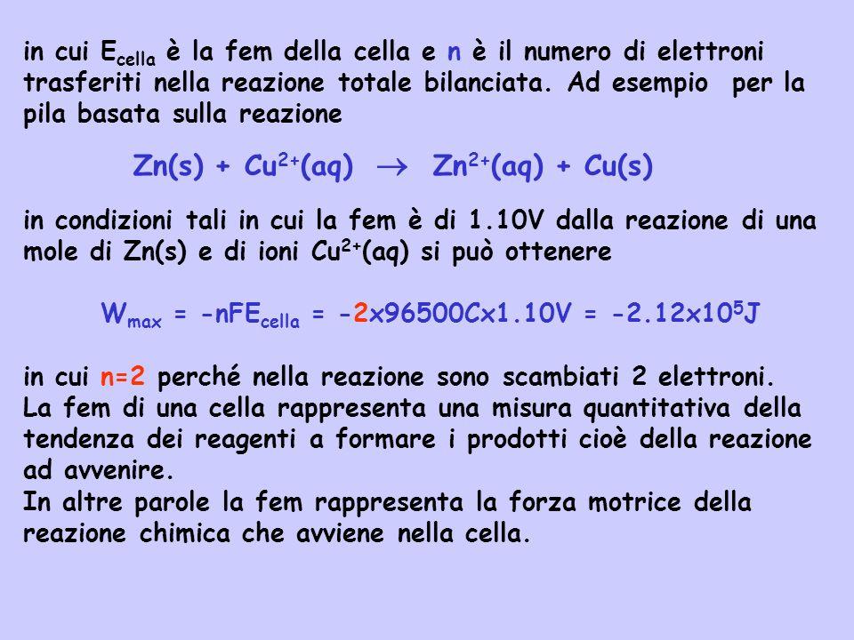 Wmax = -nFEcella = -2x96500Cx1.10V = -2.12x105J