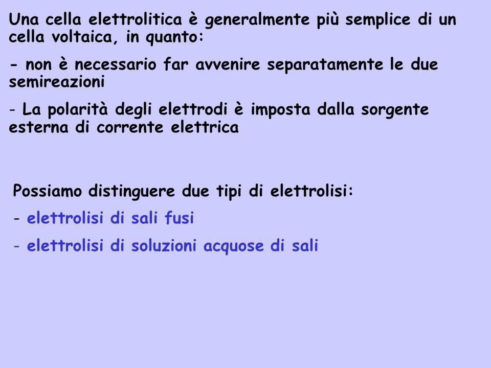 Una cella elettrolitica è generalmente più semplice di un cella voltaica, in quanto: