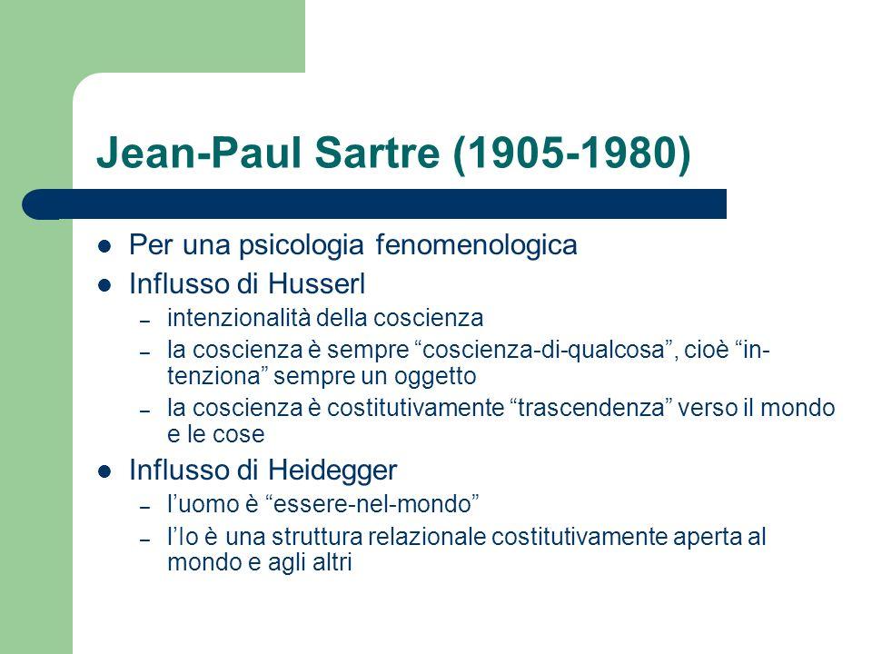 Jean-Paul Sartre (1905-1980) Per una psicologia fenomenologica