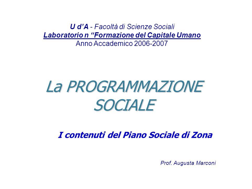 La PROGRAMMAZIONE SOCIALE