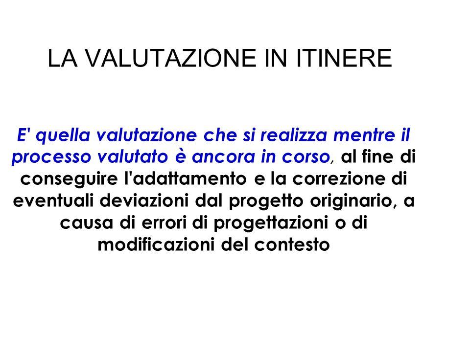LA VALUTAZIONE IN ITINERE