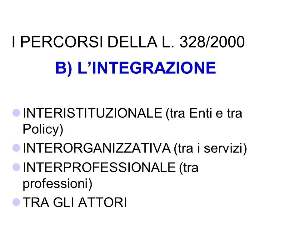 B) L'INTEGRAZIONE I PERCORSI DELLA L. 328/2000