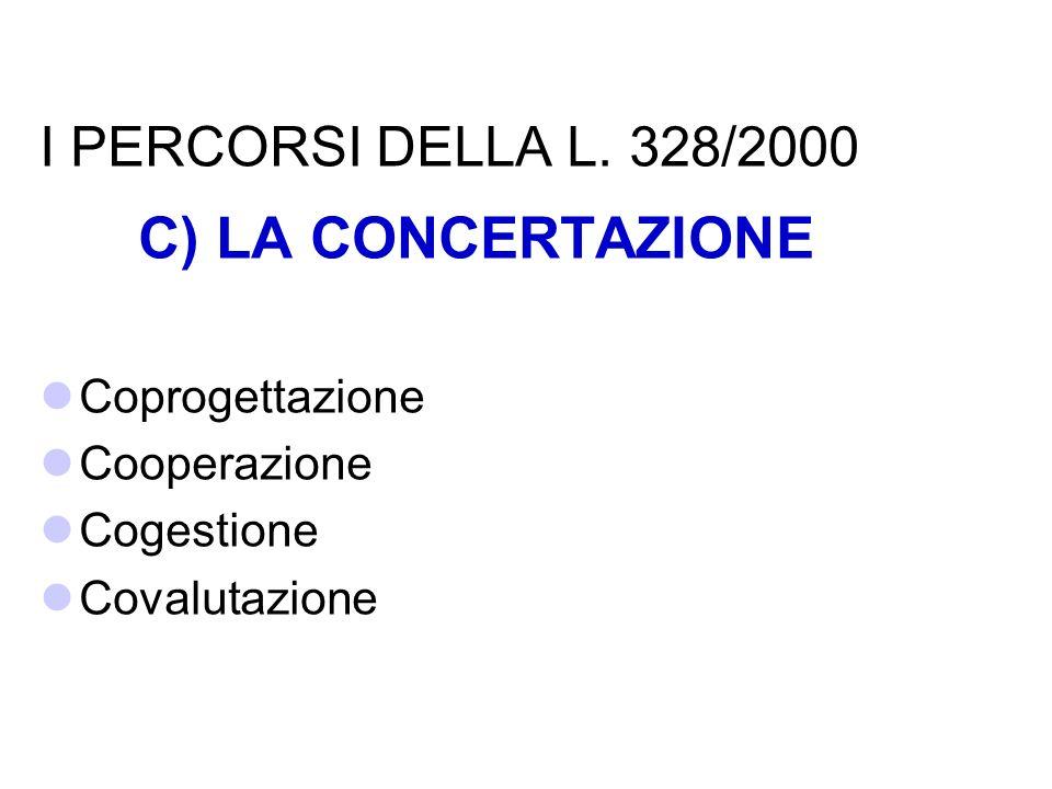 C) LA CONCERTAZIONE I PERCORSI DELLA L. 328/2000 Coprogettazione