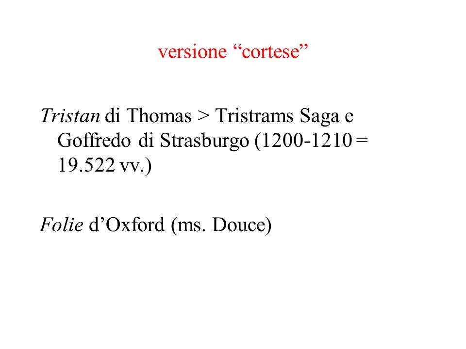 versione cortese Tristan di Thomas > Tristrams Saga e Goffredo di Strasburgo (1200-1210 = 19.522 vv.)
