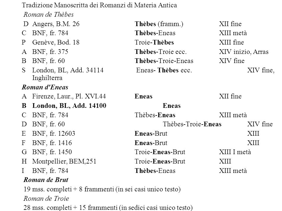 Tradizione Manoscritta dei Romanzi di Materia Antica