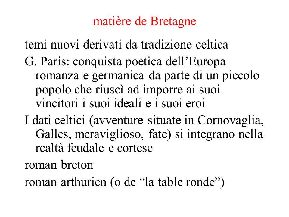matière de Bretagne temi nuovi derivati da tradizione celtica.