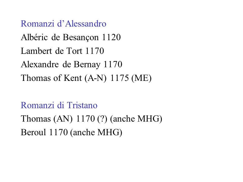 Romanzi d'Alessandro Albéric de Besançon 1120. Lambert de Tort 1170. Alexandre de Bernay 1170. Thomas of Kent (A-N) 1175 (ME)