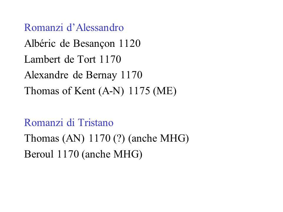 Romanzi d'AlessandroAlbéric de Besançon 1120. Lambert de Tort 1170. Alexandre de Bernay 1170. Thomas of Kent (A-N) 1175 (ME)