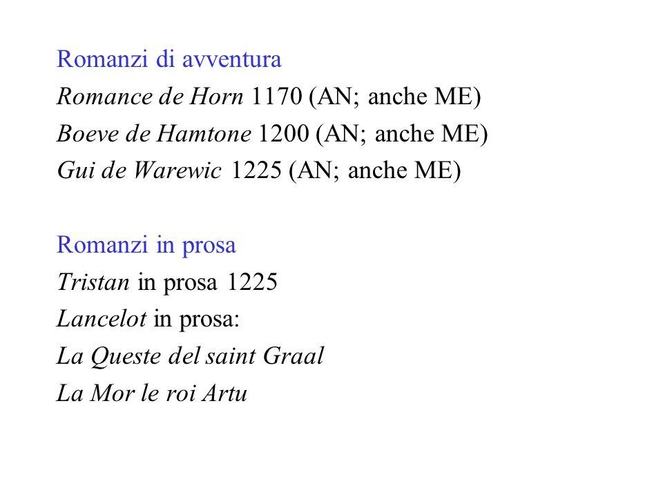 Romanzi di avventura Romance de Horn 1170 (AN; anche ME) Boeve de Hamtone 1200 (AN; anche ME) Gui de Warewic 1225 (AN; anche ME)