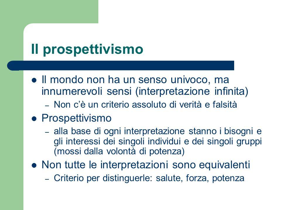 Il prospettivismo Il mondo non ha un senso univoco, ma innumerevoli sensi (interpretazione infinita)