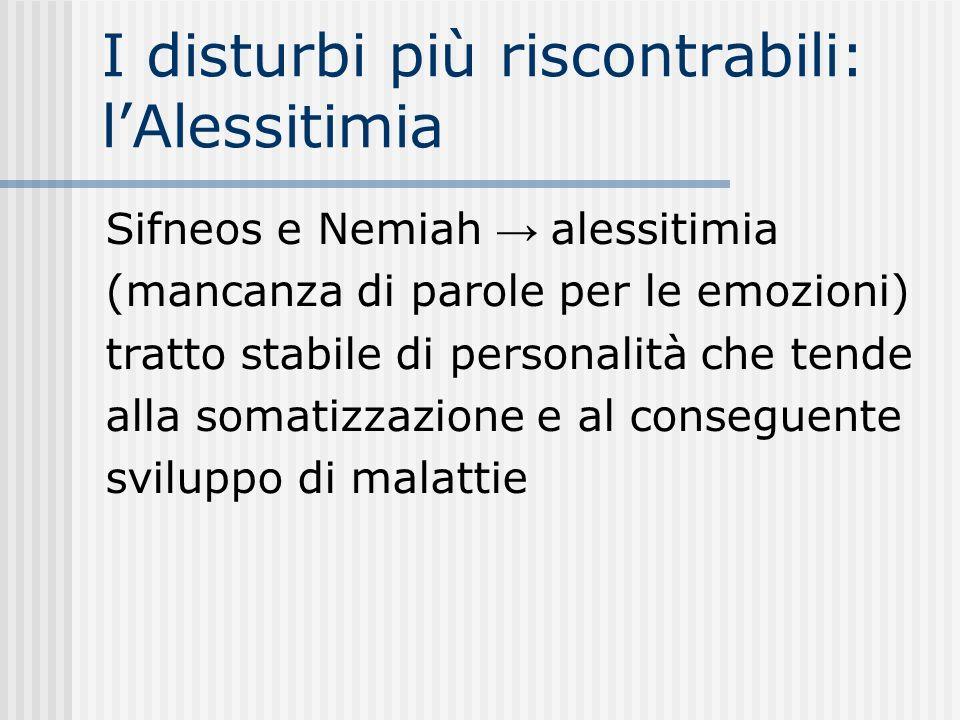 I disturbi più riscontrabili: l'Alessitimia