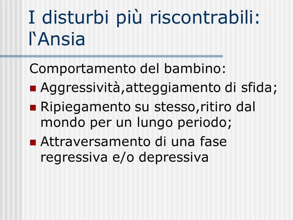 I disturbi più riscontrabili: l'Ansia