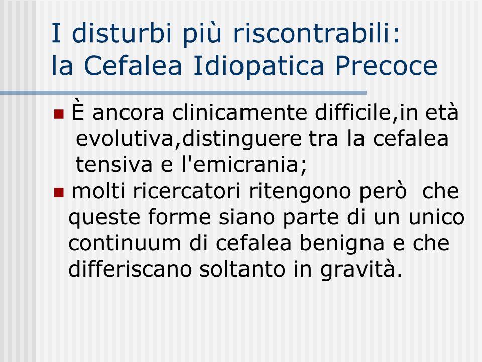 I disturbi più riscontrabili: la Cefalea Idiopatica Precoce