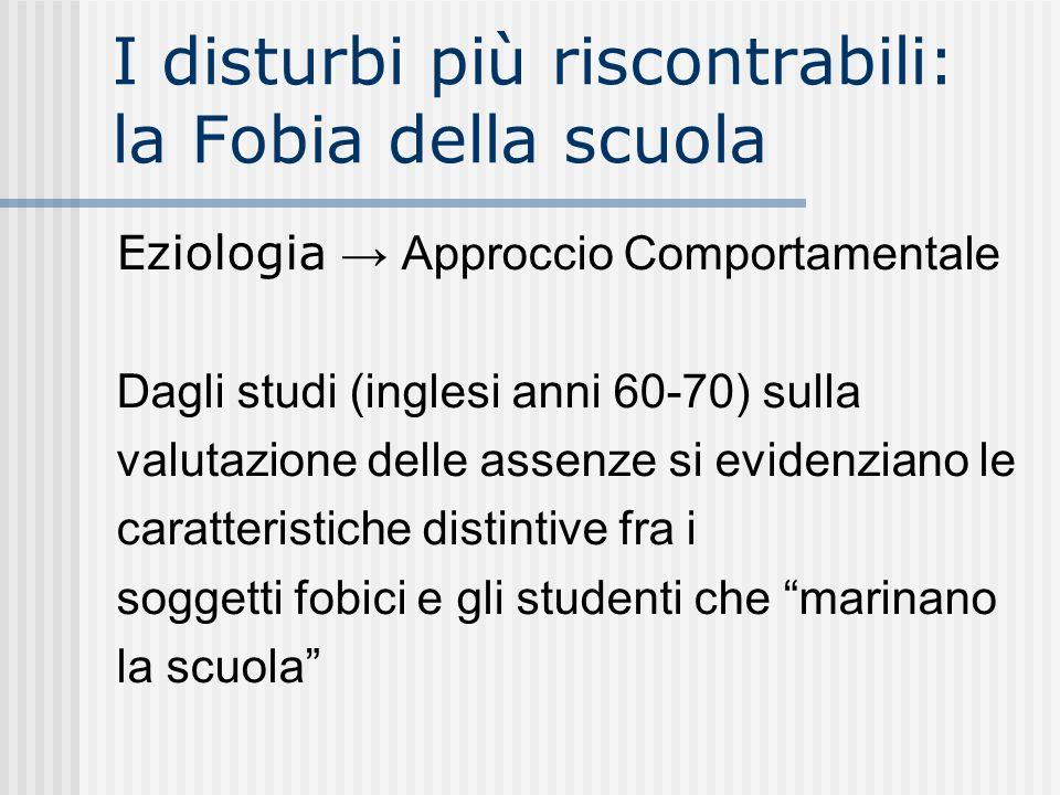 I disturbi più riscontrabili: la Fobia della scuola