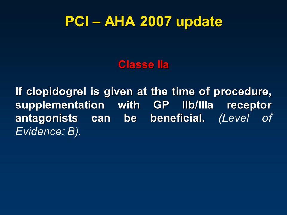 PCI – AHA 2007 update Classe IIa