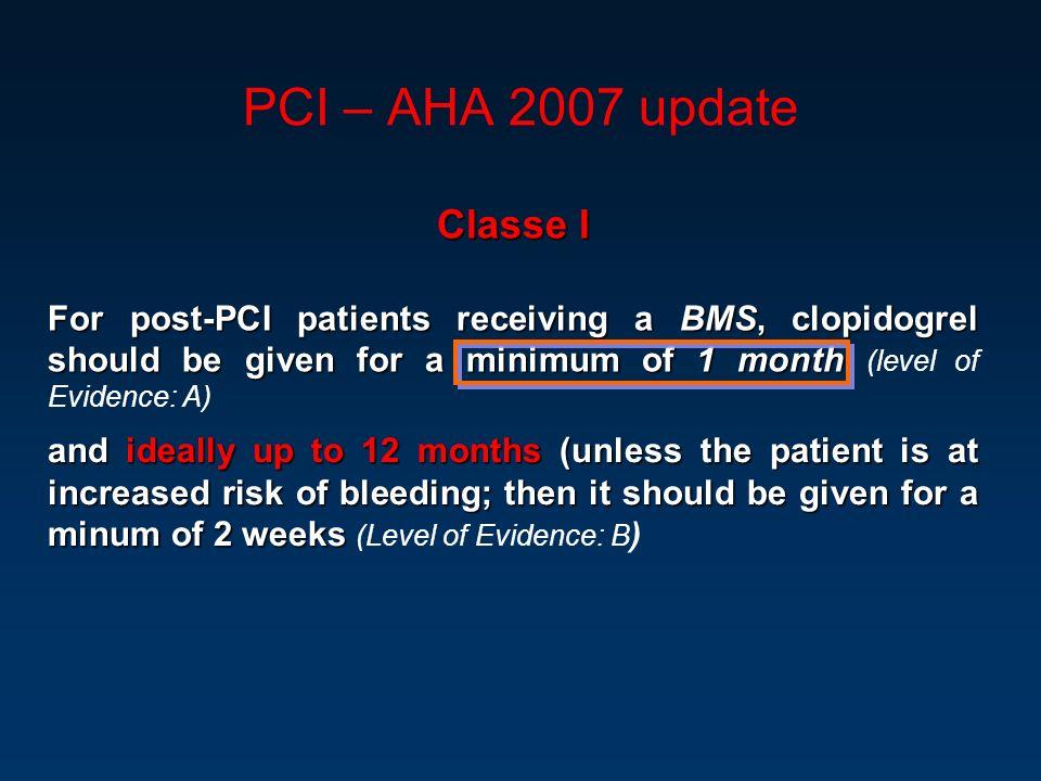 PCI – AHA 2007 update Classe I