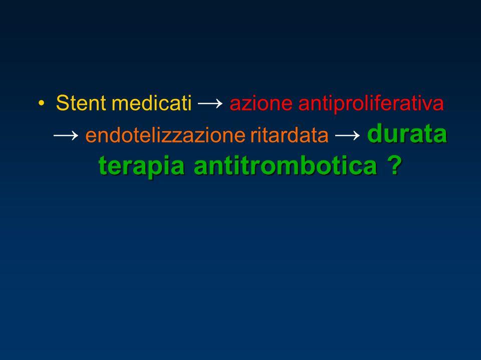 Stent medicati → azione antiproliferativa → endotelizzazione ritardata → durata terapia antitrombotica