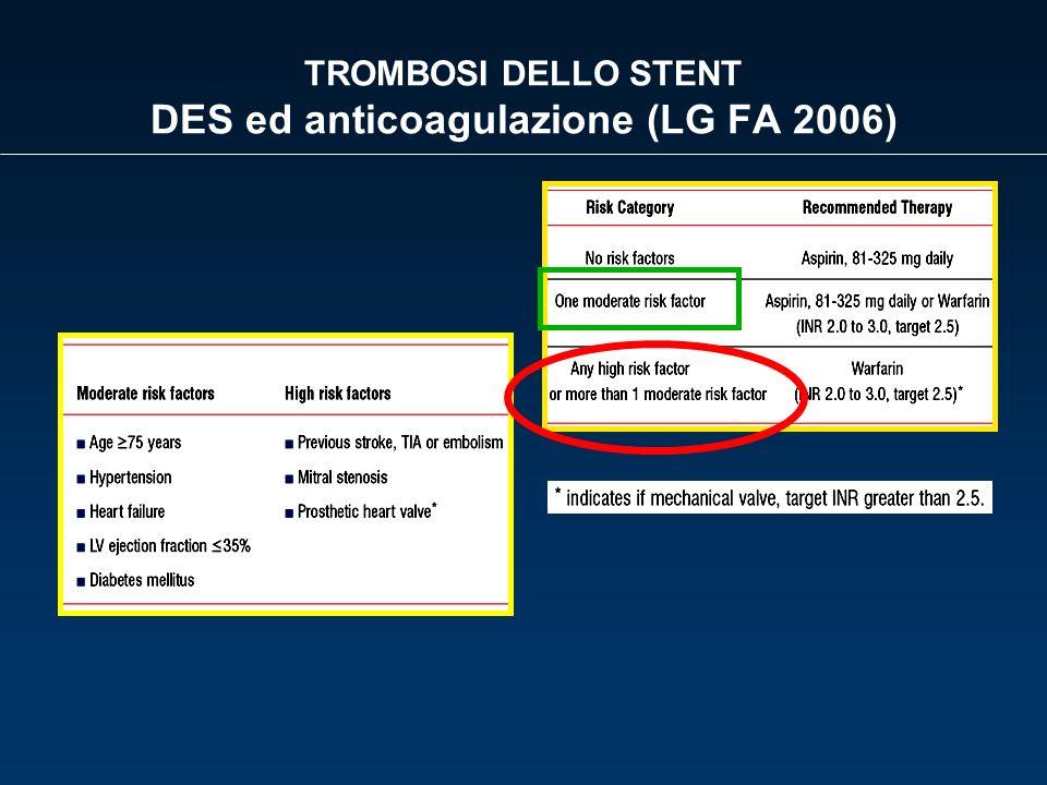 TROMBOSI DELLO STENT DES ed anticoagulazione (LG FA 2006)