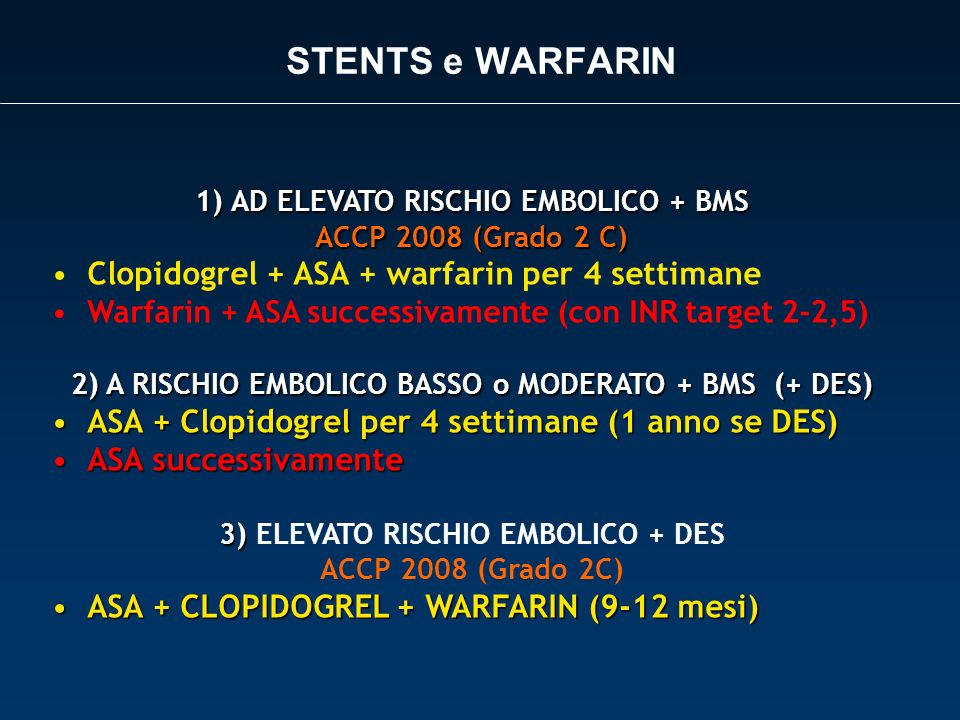 STENTS e WARFARIN Clopidogrel + ASA + warfarin per 4 settimane