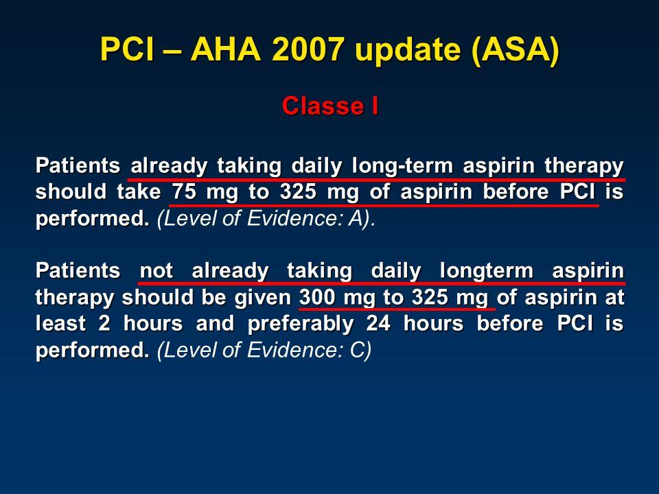 PCI – AHA 2007 update (ASA) Classe I