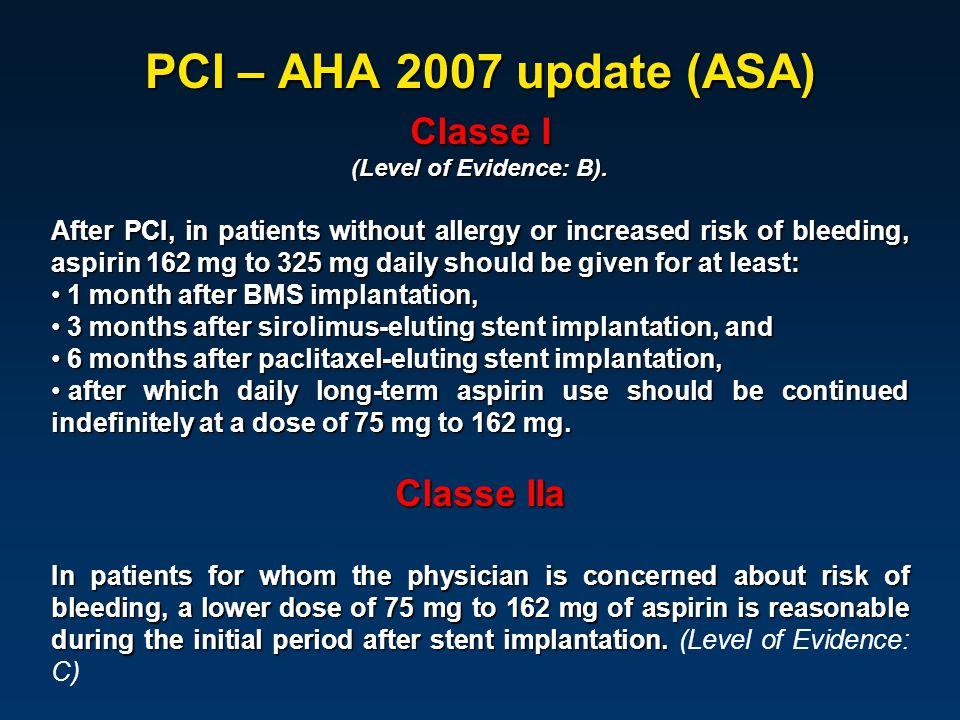 PCI – AHA 2007 update (ASA) Classe I Classe IIa