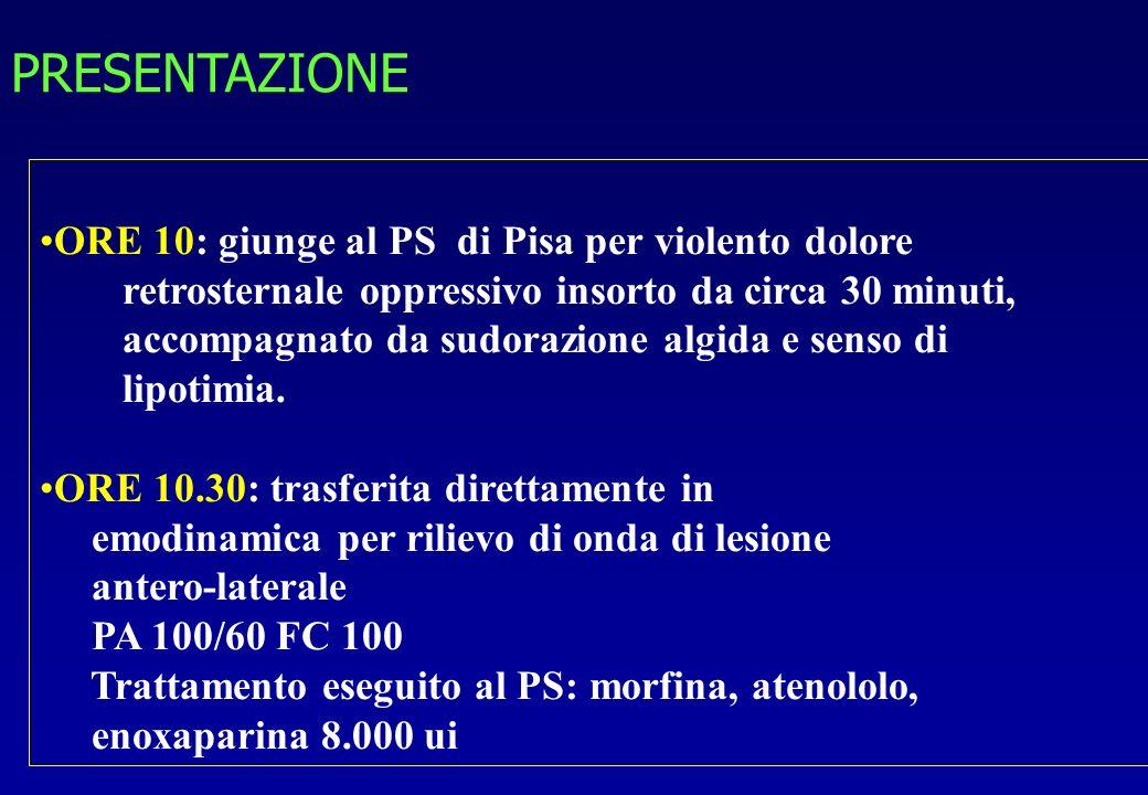 PRESENTAZIONE ORE 10: giunge al PS di Pisa per violento dolore