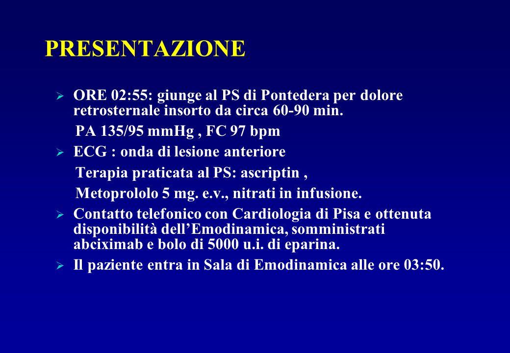 PRESENTAZIONE ORE 02:55: giunge al PS di Pontedera per dolore retrosternale insorto da circa 60-90 min.